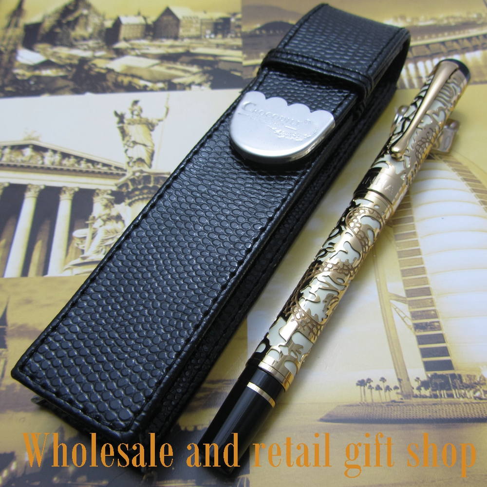 Free shipping 0.7MM perfect Kim Ho celluloid pen engraved of Gold and white fountain Pen + pen bag<br>