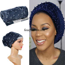 "HQT13New design!!African turban gele beads with sequins headwrap Width72""*22""soft Many color women headtie gele Free shipping."