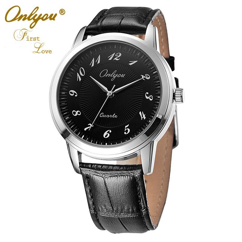 Onlyou Brand Fashion Casual Men Women Lovers Watches Boys Girls Quartz Watch Leather Business Black Wristwatches 8818<br>