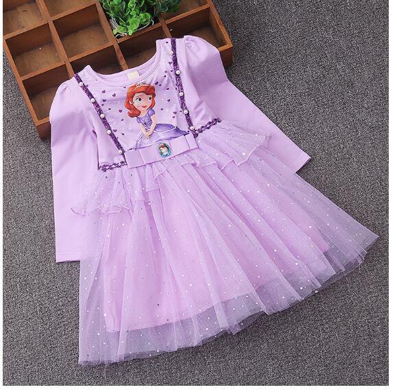 Girls Fashion Princess Dresses 100% Cotton 2017 Autumn Sofia Cartoon Kids Gauze tutu Dress CHildrens Preppy Style Dress Purple<br>