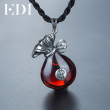 EDI 100% 925 sterling silver fashion red Gemstone Pendant for women Creative jewelry(China)