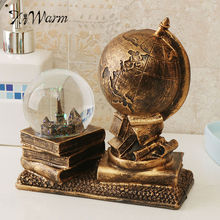 KiWarm Elegant Resin Vintage World Globe Map Earth Atlas Crystal Ball Home Office Decor With LED Light Gift for Friends