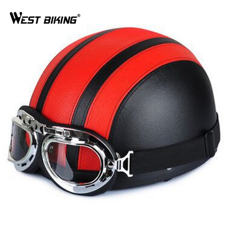 Cycling Open Face Half Leather Helmet with Visor UV Goggles Retro Vintage Style 54-60cm Professional Moto Scooter Bicycle Helmet<br><br>Aliexpress