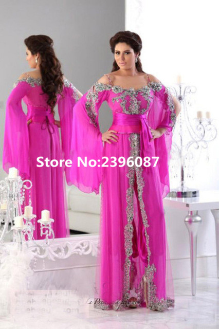 Fuchsia Chiffon Dubai Moroccan Kaftan Dresses Appliques A-Line Evening dresses Long Formal Evening Gowns Dress Vestido de noche