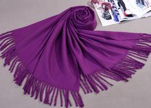 Purple Female Cashmere Blend Shawl Scarf Long Large Tassels Winter Cape Tippet Pashmina hijab Size 180 x 69 cm WS009(China)