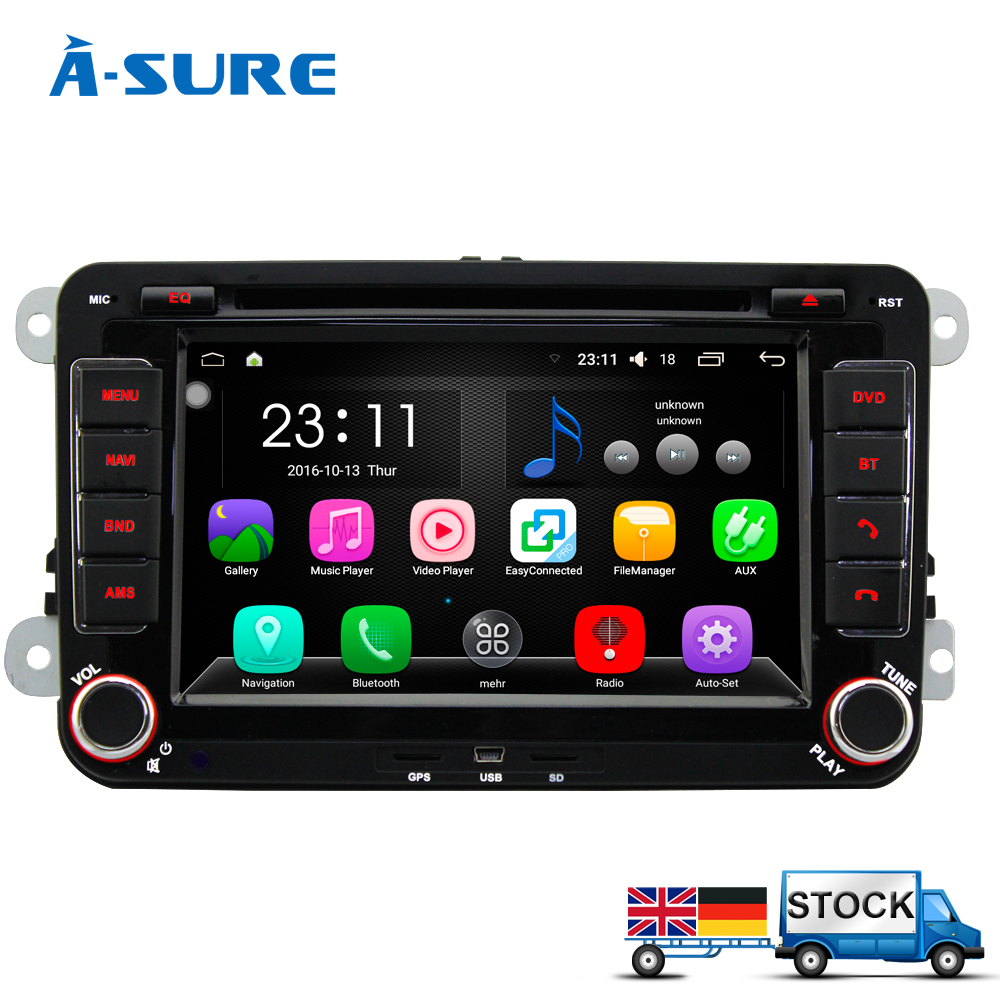 A-Sure Android 6.0 In Car Navigation 2 Din GPS DVD Player for VW PASSAT B6 Jetta Polo Sharan TIGUAN CADDY GOLF Transport T5(Hong Kong)
