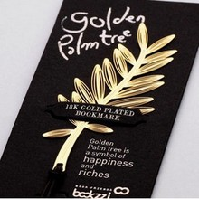 customized business gifts gold palm leaves a Korean creative metal hollow bookmark wholesale 75*33mm 3 pcs/set free shipping