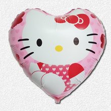2pcs/lot 18inch size cute Hello kitty foil Balloons Baby Birthday&Wedding Party supplier Decoration KT Cat helium balloons(China)