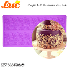 LUC Products High Quality Large Size Wedding Cake Decorating Tools 2 Stripe Leaves Silicone Lace Mat(China)