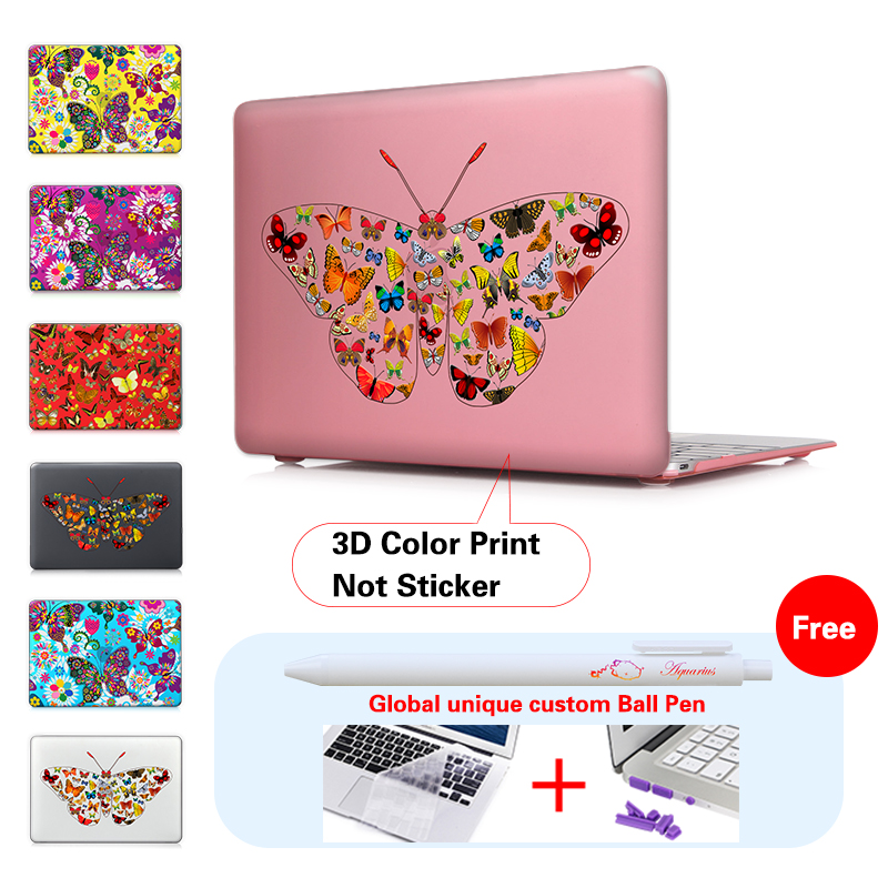 Print Multicolored Butterflies Matte Case Cover Shell For Macbook Air 11 13 Pro 13 15 Retina 13 15 Laptop Sleeve For Mac Book 12<br><br>Aliexpress