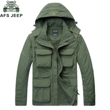Afs Jeep Brand Clothing 2017 Mens Spring Jacket Casual Hooded Mesh Bomber Jacket Men Outerwear Windproof Multi-pockets Coats(China)