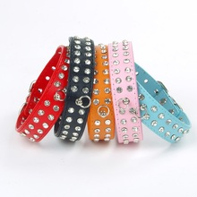 5PCS Dog Products Bling 2-Row Czechic Stone Crystal Dog Collars PU Leather Rhinestone Design Collars for Small Dogs Pet Collars