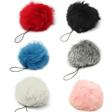 BISM Rabbit Fur Ball Cellphone Charm Bag Keychain DIY Decoration Red/Black/Blue/Grey/White/Pink/Rose red