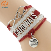 Drop Shipping Infinity Love St. Louis Cardinals Bracelet- Baseball Handmade Leather Braided Sports Friendship Gift
