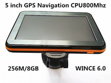 Wholesale 5 inch Touch Screen Car GPS Navigation CPU800M+ 256M/8GB+FM Transmitter+Multi-languages+Free latest Maps,10pcs/pack