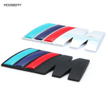 MOONBIFFY M power Motorsport Metal Logo Car Sticker Rear Trunk Emblem Grill Badge for BMW E46 E30 E34 E36 E39 E53 E60 E90 F10(China)