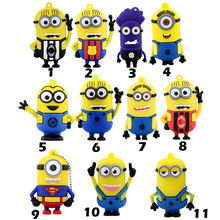 Hot sale pen drive Minions usb flash drive 8GB 16GB 32GB 64GB pendrive Despicable Me 2 Memory Stick U disk free shipping