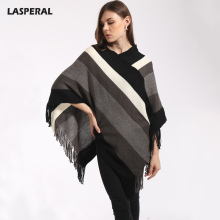 LASPERAL Winter Fashion Pashmina Scarf Women Knitt Poncho Capes Shawl Ladies Tassel Cardigan Coat Streetwear Tops British Style