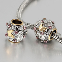 free shipping 1pc gold butterlry with pink crystal  european big hole bead CHARM Fits European Pandora Charm Bracelets A027