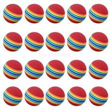 20 Pieces Sponge Foam Soft Stripe Golf Balls for Golf Training Practice - Rainbow Color - 40mm/1.6inch(China)