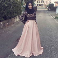 2017 O Neck Black Lace Muslim Evening Dresses Islamic Abaya With Black Lace Evening Gown Party Gown Dubai Kaftan robe de soiree