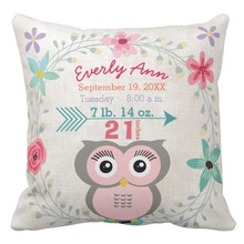 Custom Canvas Cushion Cover,Birth Stats Baby Girl Creature Pink Owl Throw Pillow Cases,Decorative Sofa Pillow Covers 45cm*45cm(China)