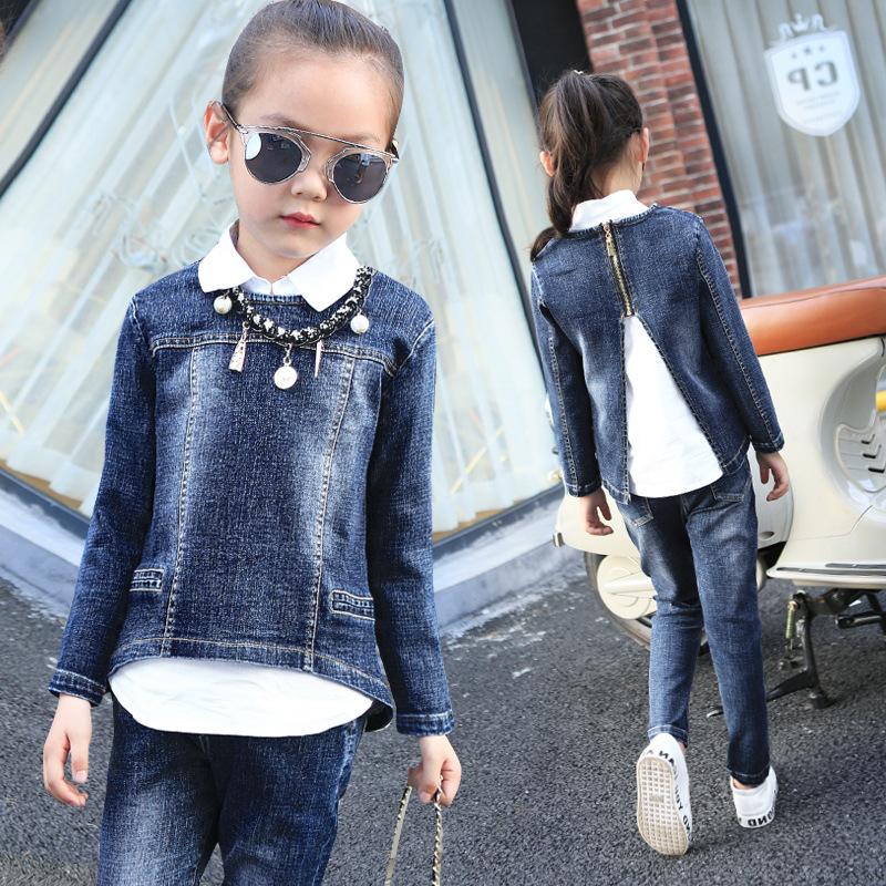 2017 Autumn Winter Kids Clothes Cowboy Suit 2 pcs Girls Outfits Jeans Letter Clothing Children Set 3-13 Years old Boys Clothes<br>