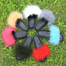 Women Fur Slippers Furry Slide Ostrich Feather Home Slippers Fashion Flip Flops Beach Sandals Summer Women Flats Home Shoes
