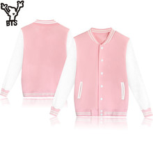 BTS 2017 Winter Baseball Jacket Women/men Sweatshirt College Sportswear Jackets coat k-pop Casual solid color Pullovers XXXXL