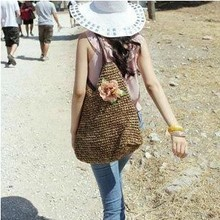 2016 new woven straw bag beach holiday flowers simple solid shoulder casual tote bolsa feminia women bag