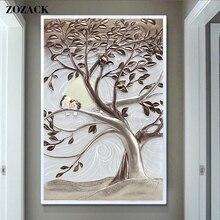 Новый Дерево Любви Lovebirds 11CT DIY DMC рассчитывал Отпечатано китайский вышивка крестом Пейзаж Вышивка крестом Наборы для Вышивка рукоделие(China)