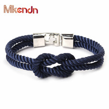 Buy MKENDN New Fashion Infinity Bracelets Men Charm Survival Rope Chain Paracord Bracelet Male Wrap Metal Sport Hooks for $1.64 in AliExpress store