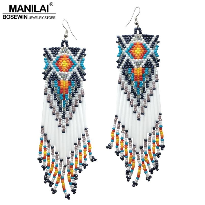 Beautiful Girl Tassel Drop Dangle Earrings 13 Colors Beads Boho Ethnic Women Big Handmade Earrings