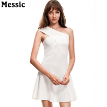 Buy Messic Asymmetrical Neck One Shoulder Sexy Dress Line Mini Robe 2018 Summer Sleeveless Women Dresses Elegant Party Midi Dress for $16.99 in AliExpress store