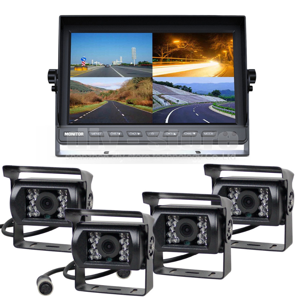 DIYSECUR 10Inch Split QUAD Monitor 1080 x 600 + 4 x CCD IR Night Vision Rear View Camera Waterproof Monitoring System(China)