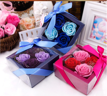4pcs/lot rose gift Box roses do soap flower festival creative soap simulation spend valentine's day gift(China)