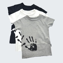 Boys T-shirts Cotton Hand Print Girls Tops Skull Patch Splash Tees Shirts Clothes For Toddlers Baby nununu bobo choses 2017