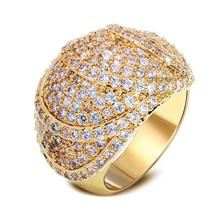 Best Popular Design Luxury Women Cubic Zirconia Rings Bling Trendy Jewelry Gift Top Quality  Gold-color Lead Free