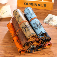 Vintage Pirate style imitation leather pencil case school pencil cases canvas large pencil bag cosmetic bag free shpping(China)