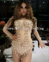 New Sexy Shining Stones Bodysuit Stage Wear Crystal Tassel Leotard Sequin Nightclub Costume Celebrate Party Female Singer Outfit
