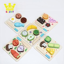 Wooden Toy Kitchen Cut Fruits Vegetables Dessert Kids Cooking Kitchen Toy Food Pretend Play Puzzle Educational Toys for Children