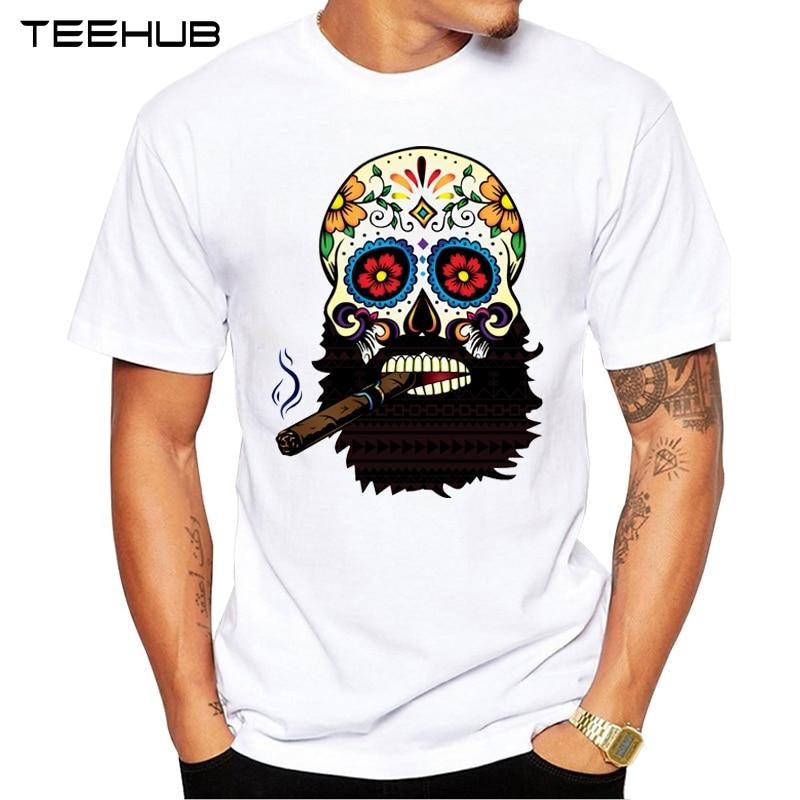 Men's Fashion Cigar Skull Design Short Sleeve O-neck Tops Hipster T-Shirt
