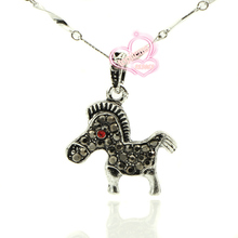 "New 10pcs/lot Fashion Jet Hematite Crystal Tibetan Silver Plated "" Stocky Horse "" Design Pendants For Jewelry Necklace Bracelets"