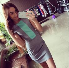 Ebay Summer Wear New Pattern Best Sellers European Spelling Color Self-cultivation Thin Elasticity Back Zipper Dress 1334