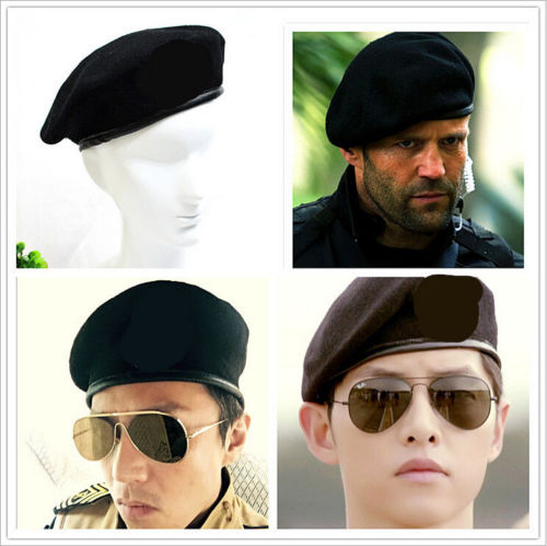 Military Army Soldier Hat Men&Women Solid Basic Wool Beret Uniform Cap Classic Artist title=