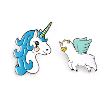 Fashion Jeans Brooch Pins Jewelry Accessories Cute Animal Unicorn and Angel Sheep Alpaca Enamel Alloy Brooch Women Corsage