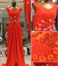 Fast Shipping Real Sample Photo Lace Chiffon Red Prom Dress Sheer with Flowers Beading Sheer Back Formal Evening Gown