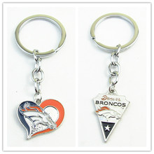Mix 2 Style Denver Broncos Keychains Keyring America Football Sport key chains Jewelry Sports Keychains Jewelry 10pcs/lot(China)