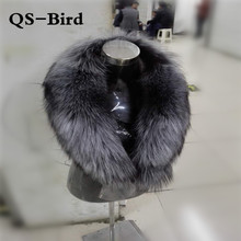 New 100% Natural Fur Collar Luxury Silver Fox Fur Collar Ring Scarf 80CM Women Genuine Fox Fur Collar for Down Jacket Wholesale(China)