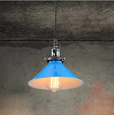 IWHD American Style Lampe Vintage Pendant Lights Fixtures Dinning Room Bule Lampshade Loft Style Industrial Lamp<br>